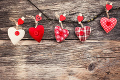 Valentines Day Hearts on wooden background. Vintage style, toned, soft focus. Valentine day concept Royalty Free Stock Images