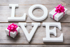Valentines day holiday letters text message love card background Royalty Free Stock Photos
