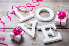 Valentines day holiday letters text message love card background Royalty Free Stock Photo