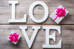 Valentines day holiday letters text message love card background Stock Photo