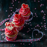 Valentines Day homemade cupcakes with pink icing. Stock Photo