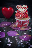 Valentines Day homemade cupcakes with pink icing. Royalty Free Stock Image