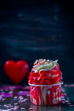 Valentines Day homemade cupcakes with pink icing. Royalty Free Stock Photography