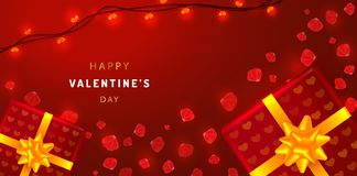 Valentines Day horizontal banner with rose petals, gift boxes and garlands. Greeting card illustration on red background. royalty free illustration