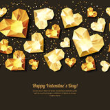 Valentines day  horizontal black background with 3d gold heart diamonds, gems, jewels. Golden holiday texture for Valentines greeting card, banner, poster Royalty Free Stock Photos