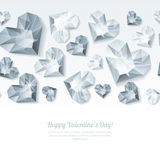 Valentines day  horizontal white background with 3d silver heart diamonds, gems, jewels. Silver holiday texture for Valentines greeting card, banner, poster Royalty Free Stock Photos