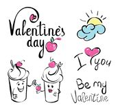 Valentines day. I love you. Vector card with handwritten calligraphy text and red hearts on white background. Ice cream charac stock illustration