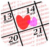 Valentines day icon. 2014 valentines day calendar icon stock illustration