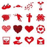 Valentines day icon set. Heart Logo. Valentines day red icon set Stock Photo