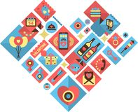 Valentines day  icons. Icons in retro style on the holiday Valentines Day heart-shaped collected Stock Photos