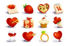 Valentines Day Icons Set Stock Image