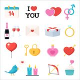 Valentines Day icons set. 14 february symbols, love. Vector illustration in flat style  on white background Royalty Free Stock Photos