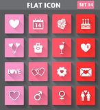 Valentines Day Icons set in flat style with long s Stock Photos