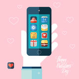Valentines day icons set on smart phone screen. Color vector illustration. Royalty Free Stock Photography