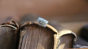 Valentines Day idea, I love you text. Valentines Day idea, I love you text and vintage books on a shelf stock video