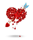 Valentines day illustration with arrow and hearts Stock Photography