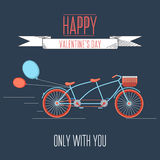 Valentines day illustration with bicycle and typography design elements. Stock Photo