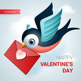 Valentines day illustration. Bird with love letter. Royalty Free Stock Photography