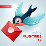 Valentines day illustration. Bird with love letter. Vector Stock Images