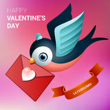 Valentines day illustration. Bird with love letter. Stock Photos