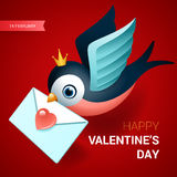 Valentines day illustration. Bird with love letter. Stock Image