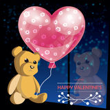 Valentines day illustration card background happy Valentine`s da. Vector Valentines day illustration card background happy Valentine`s day with a cute Teddy bear royalty free illustration