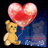 Valentines day illustration card background happy Valentine`s day. Vector Valentines day illustration card background happy Valentine`s day with a cute Teddy royalty free illustration