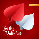 Valentines day illustration. Couple of paper planes shaped of he Royalty Free Stock Image