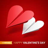 Valentines day illustration. Couple of paper planes shaper of he. Arts. Love message concept. Vector Stock Image