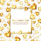 Valentines day illustration. 3d gold heart diamonds, gems, jewels. with square frame. With place for text. Design for greeting card, banner, poster, flyer royalty free illustration