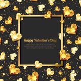 Valentines day illustration. 3d gold heart diamonds, gems, jewels. with square frame with place for text. Design for greeting card, banner, poster, flyer vector illustration