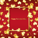 Valentines day illustration. 3d gold heart diamonds, gems, jewels. with square frame with place for text. Design for greeting card, banner, poster, flyer royalty free illustration