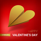 Valentines day illustration. Gold paper plane shaped of heart. Stock Images