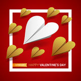 Valentines day illustration. Group of paper planes shaped of hea Royalty Free Stock Photography
