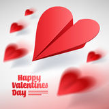 Valentines day illustration. Group of red paper planes. Love mes Royalty Free Stock Photos
