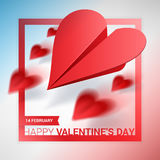 Valentines day illustration. Group of red paper planes shaped of Stock Photography