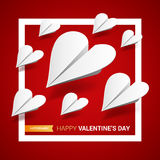 Valentines day illustration. Group of white paper planes shaped Stock Images