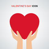 Valentines day illustration. Hands holding heart sign. Icon. Royalty Free Stock Photography