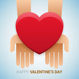 Valentines day illustration. Hands holding heart sign. Stock Photos