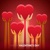 Valentines day illustration. Hands holding heart sign. Royalty Free Stock Images