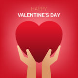 Valentines day illustration. Hands holding heart sign. Royalty Free Stock Photo
