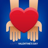 Valentines day illustration. Hands holding heart sign. Royalty Free Stock Photography