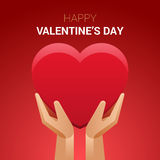 Valentines day illustration. Hands holding heart sign. Stock Photo