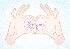 Valentines Day illustration. Hands making a heart shape illustration. Valentines day card. Hands in the form of heart with confession love you in center. Hearts Royalty Free Illustration