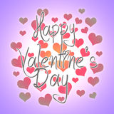 Valentines day illustration. Happy Valentine card with greetings. Lettering logo, calligraphy inscription with many hearts. Stock Photography