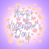 Valentines day illustration. Happy Valentine card with greetings. Lettering logo, calligraphy inscription with many hearts. Template card label poster emblem Stock Photography