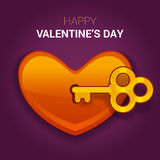 Valentines day illustration. Key to the heart as a symbol of lov Royalty Free Stock Photo