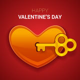 Valentines day illustration. Key to the heart as a symbol of lov Royalty Free Stock Photos