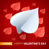 Valentines day illustration. Paper planes shaped of hearts. Royalty Free Stock Photo