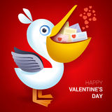 Valentines day illustration. Pelican holding envelope with heart. Valentines day illustration. Pelican holding envelopes with heart sign. Vector Royalty Free Stock Photography